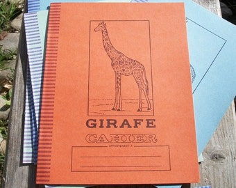 Three Vintage 1950s French School Books Giraffe Tiger Lion NoteBooks Exercise Work Books