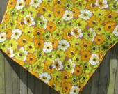 Orange Yellow Green Mod Floral Table Cloth Mid Century 53 x 67 Oblong Brown Big Flower