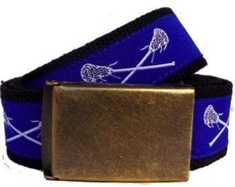Lacrosse Belt / D-Ring Belt / Canvas Belt / Preppy Belt/ Men's Belt/ Children's Belt/ White Lacrosse Sticks on Royal with Black Webbing