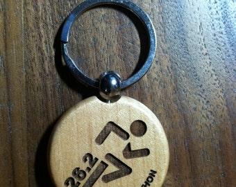 "26.2 - Marathon Key Ring - 1-1/2"" Dia. Maple"