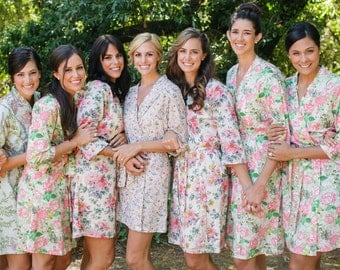 Set of 9 CUSTOM knee length bridesmaids robes. Pastel floral bridal party robes & unique bridesmaids gifts.