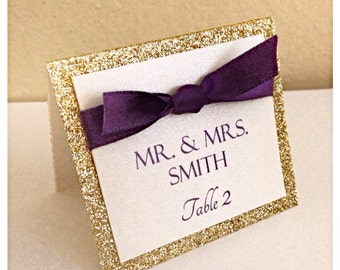 Gold wedding place cards, wedding seating cards, Gold glitter and purple seating card, wedding escort cards, table seating card, dark purple