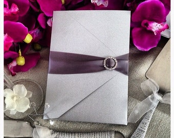 Wedding Invitations, Silver Glitter Wedding Pocketfold Invitation with  Rhinestone Buckle