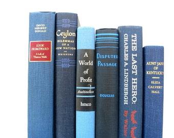 Denim Blue and Black Vintage Books / Book Decor / Interior Design / Home Decorating / Book Bundle / Instant Library / Wedding Decor
