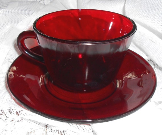 Vintage Tea Cup Amp Saucer Ruby Red Glass Tea Cup Red Glass