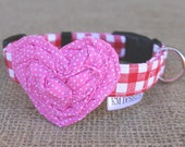 Valentine's Dog Collar - Red Gingham with Pink Pin Dot Heart