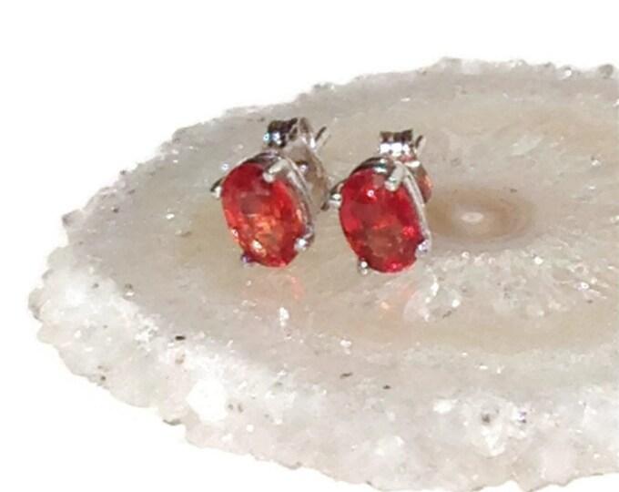 Orange Sapphire Stud Earrings/ 14K White Gold Earrings/ Gemstone Earrings
