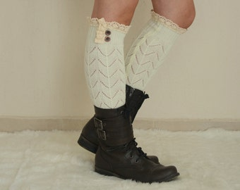 BS5405- Knit lace ivory leg warmers with lace and buttons chunky leg warmers boot socks over the knee socks birthday gifts christmas gifts