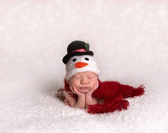Crochet Snowman with Scarf Newborn-5yrs MADE TO ORDER Photography Prop