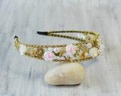 Gold Rhinestone Bridal Tiara, Crystal Headband, Flowers Bridal Headpiece, Wedding Headpiece, Bridal Crown, wedding hair accessories