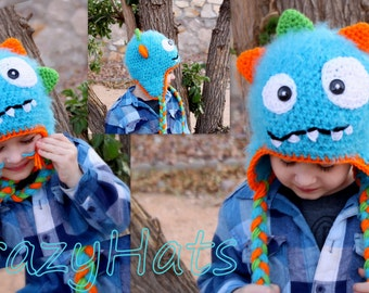 Crochet Fuzzy Monster hat.Made to order.