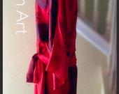 womens 2piece dress wearable art sz s-m 100silk handpainted print blouse skirt easy fit  custom handmade holiday mother bride groom