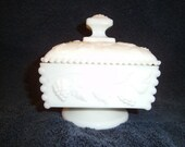 Westmoreland milk glass covered candy dish paneled grape pattern