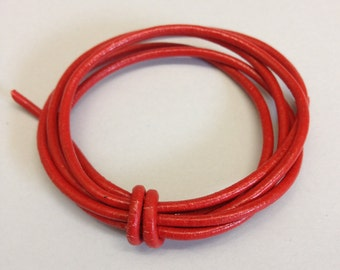 By The Yard Red 2mm Round Leather Cord