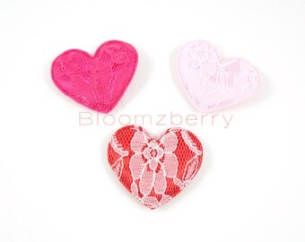 """3 or 6 pcs Satin Heart Lace Embroidered - Pink, Fuchsia and Red - Size 2"""" - Valentine Appliques -  DIY Hair Accessories Supplies"""