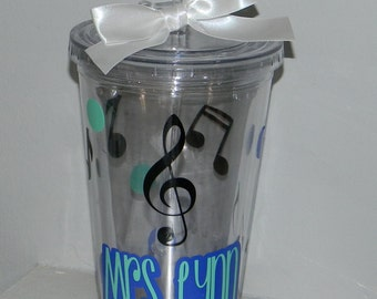 Music Teacher Gift Personalized Tumbler 16 ounce Any Color Combination