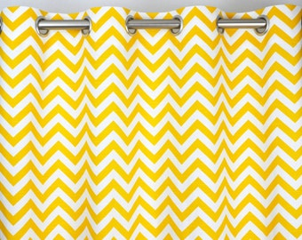 Yellow White Zig Zag Chevron Curtains - Grommet - 84 96 108 or 120 Long by 25 or 50 Wide - Optional Blackout or Cotton Lining