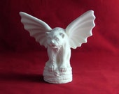 Ceramic ready to Paint Bulldog Gargoyle - Medium Size,8 inches - hand made, indoor or outdoor, lawn or garden