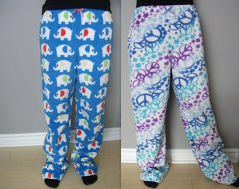 Women's Girl's Ultra Soft Fleece Pyjama Bottoms in Cute Patterns and Colors!