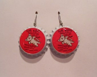 Soft Kitty hot pink bottle cap earrings