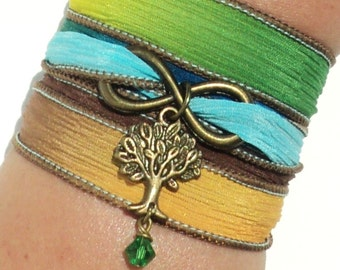 Infinity Silk Wrap Bracelet Yoga Jewelry Tree of Life  Upper Arm Eternity Love New Beginnings Stocking Stuffer Yogi Gift M47