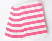 Pink Rugby Stripe Favor Bags from The TomKat Studio