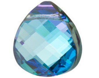 Set of 4 Swarovski 6012 11x10mm Aquamarine Vitrail Light Flat Briolette Pendants (sku 7614 - 6012-11-AQ-VL )