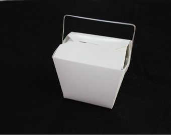 10 Small White Chinese Take Out Boxes for Party Favors or more - SMALL half-pint - Set of 10