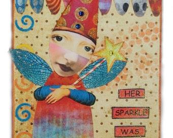 Fairy Art, Altered Art Fairy, Assemblage Art, Faerie Art, Zetti Art, Her Sparkle Was Contagious