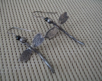 Vintage Silver Firefly Dangle Pierced Earrings With Detailed Wing Design