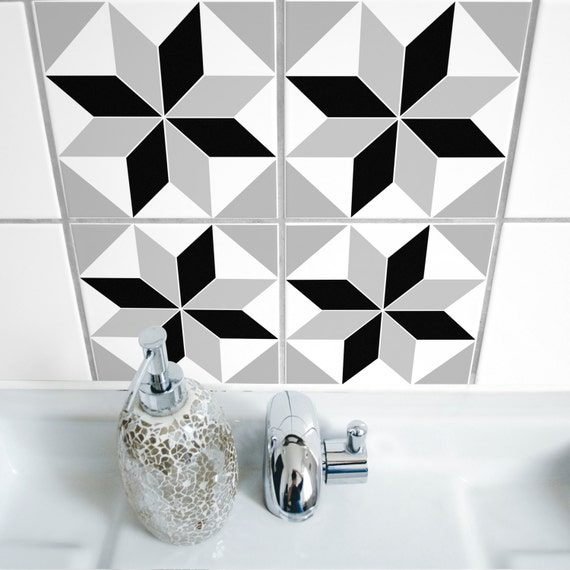 Items similar to tile stickers set of 4 polygon 05 - Stickers pour carrelage salle de bain ...
