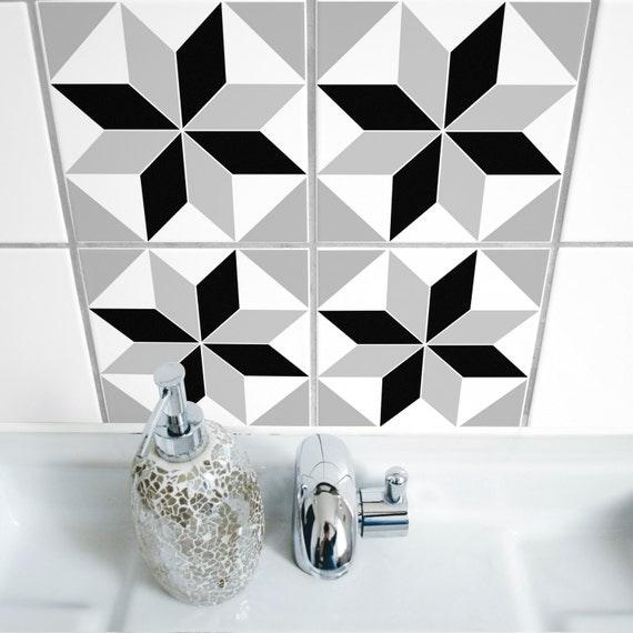 Items similar to tile stickers set of 4 polygon 05 - Stickers muraux pour salle de bain ...