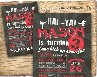 Karate party invitation - karate invitation for ninja party - DIY printable invitation - karate birthday party chalkboard style