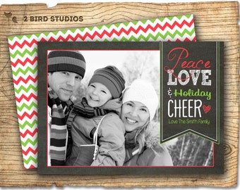 Christmas photo card - Chalkboard Holiday photo card - Christmas card -  Holiday greeting card - Holiday card - printable photo card