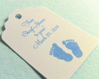 20 Baby Shower Gift Tags, Blue Baby Feet and Pearlescent White Card Stock, Customize Your Text