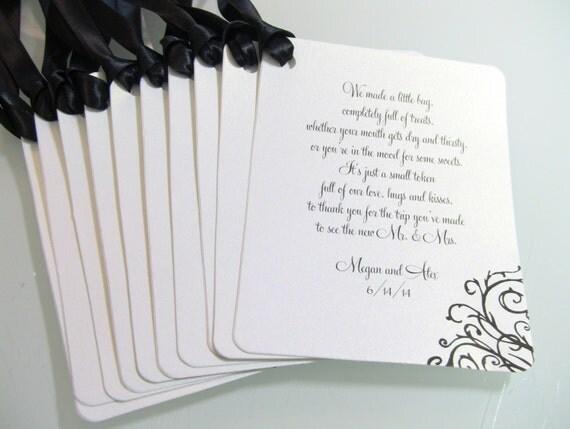 Wedding Gift Bag Tags : Customize Any Color, 10 Custom Wedding Gift Bag Tags, Fancy Flourish ...