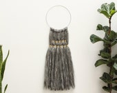 Natural Raw Wool and Brass Art Wall Hanging