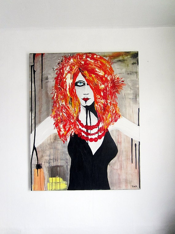 "oil painting portrait red haired women modern abstract 24""X30"""