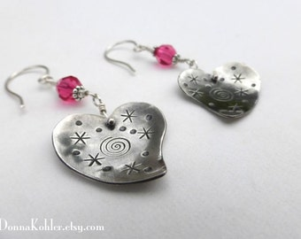 Lisa Heart Earrings Sterling Silver Swarovski Crystal Hand Stamped Asymmetrical Hearts Hand Formed Silver Ear Wires by Donna Kohler
