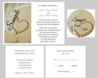 100 Personalized Custom Beach Destination Heart Sand Bridal Wedding Ceremony Invitations Cards Set