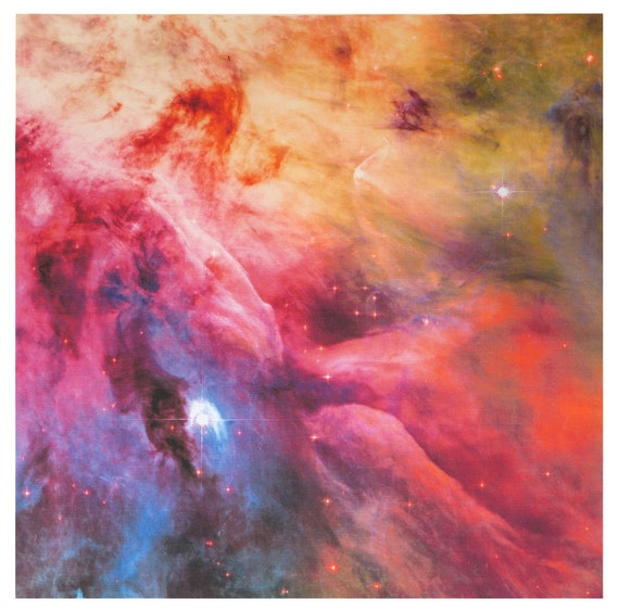 Astronomy fabric orion nebula 17 x 17 inches on linen cotton for Nebula material