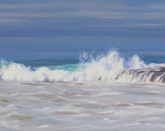 Waves - Seashore - Sea - Ocean - Oil Painting - Plein Air - Seascape - Water - Laguna Beach - California - The Wedge - Surfing - Sand