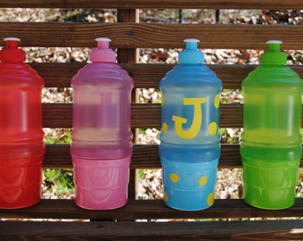 Personalized Water Bottle Kids with Snack Cup, Birthday Party Favor, Shower, Gifts