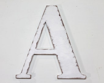wood letter a 12 inches tall shabby chic wooden letters handmade alphabet letters distressed letters painted vintage white