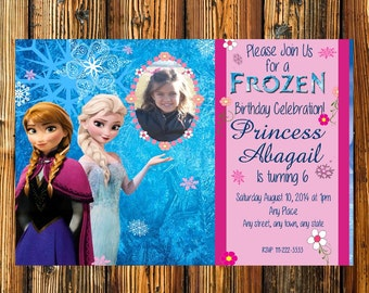 Personalized  Elsa & Anna Frozen Birthday Party Invitation ELSA Digital File- with option to add own photo