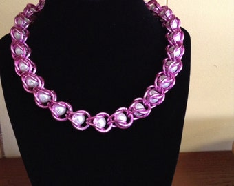 Pink Chain Maille Necklace with Pearl Beads