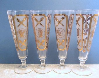 Vintage Glass Gold and White Roman Military Centurion Pattern - Frosted Pilsner Glasses  - Set of 4