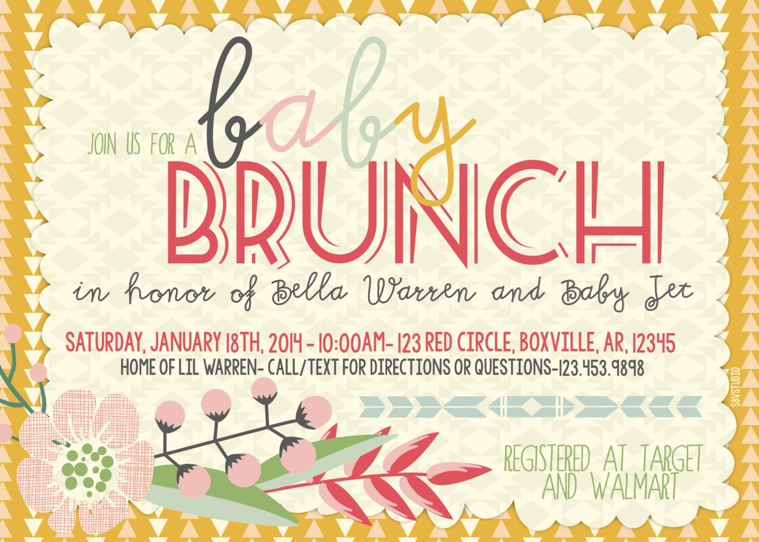 Baby Shower Brunch Indie Triangles Floral Invitation. Oh ...