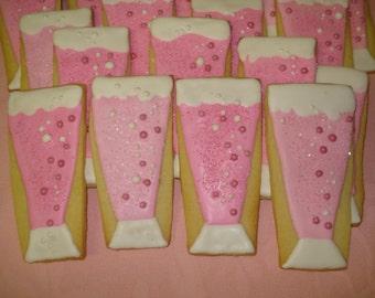 Bridal Shower, New Years, Wedding, Birthday, Celebration Champagne Glass Decorated Sugar Cookies - 1 Dozen