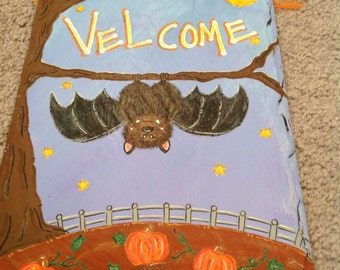 Bat Halloween Welcome sign hand painted slate